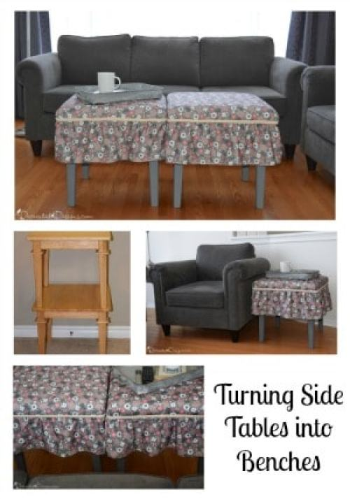collage of how to turn side tables into benches
