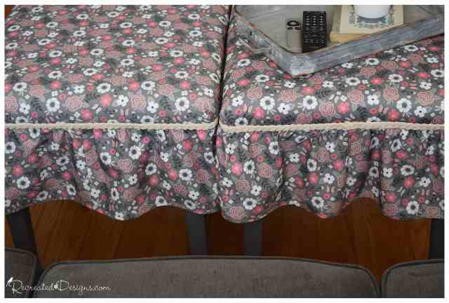 Spoonflower fabric turned into two side tables