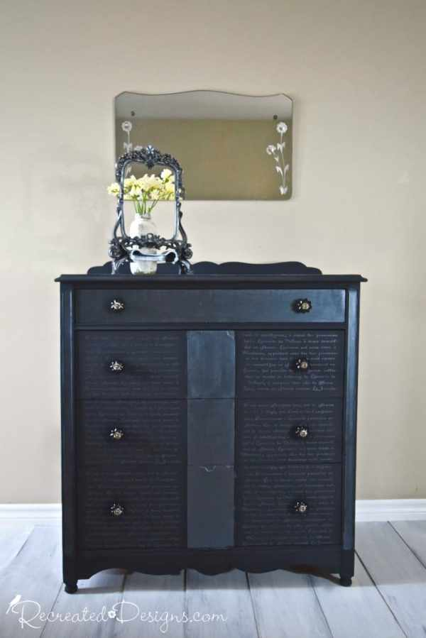 black dresser with French Script using Country Chic Paint metallic cream