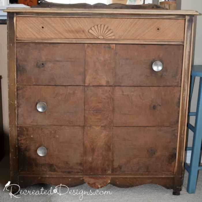 dresser found on the curb before being Recreated