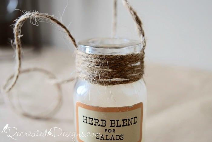 adding hemp twine to vintage spice bottles