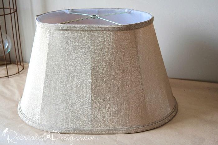 vintage lamp shade before adding ribbon