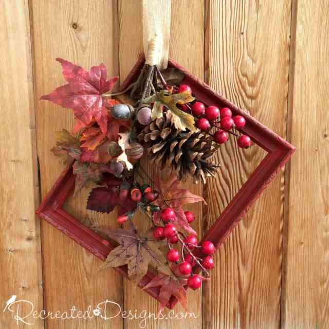painted-red-frame-chalk-paint-emperors-silk-fall-wreath-recreateddesigns