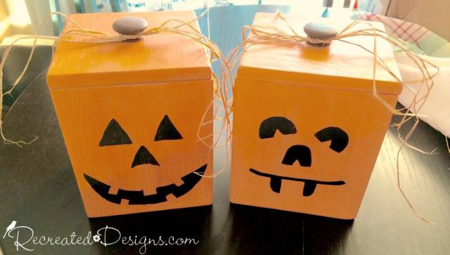 pumpkin canisters to hold treats and candy