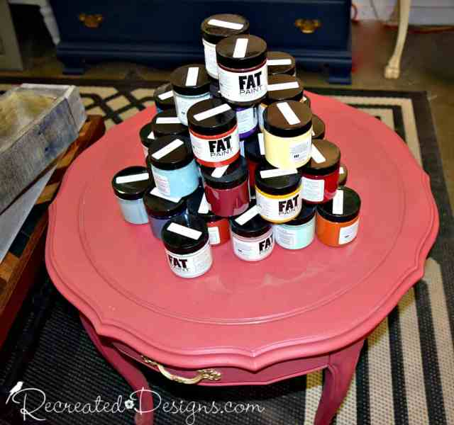 FAT paint sample jars at Bluebird Upcycle in Ottawa, ON
