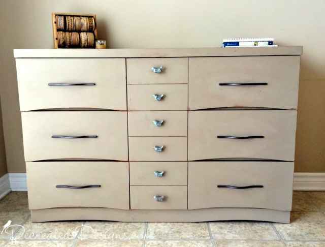 Mid Century Modern Walnut dresser painted with Annie Sloan Chalk Paint in Coco
