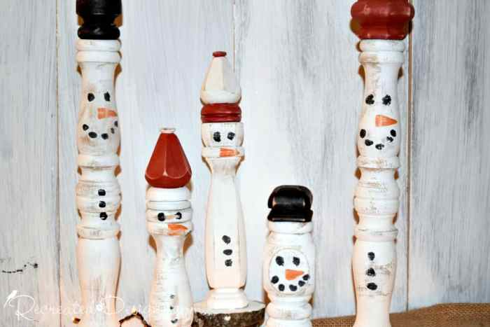Fusion Mineral Painted spindles turned into snowmen