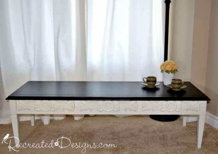 vintage coffee table restained top with General Finishes Black stain and Fusion Mineral Paint in Raw Silk