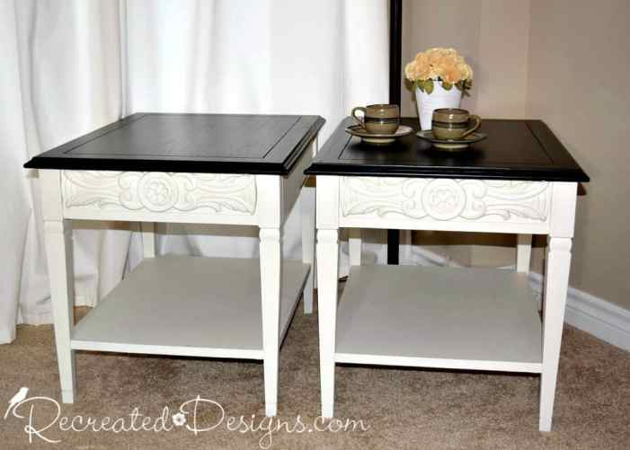 vintage end tables redone with General Finishes Black stain and Fusion Mineral Paint in Raw Silk