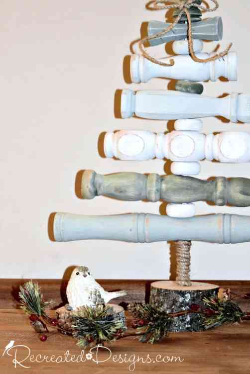 vintage spindles used to make a Christmas Tree
