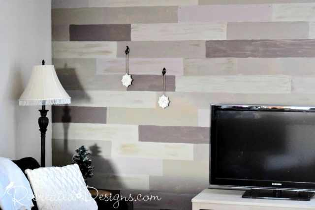 faux wood plank wall in a living room