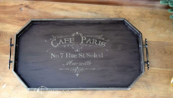Serving tray with Cafe Paris in gold metallic cream