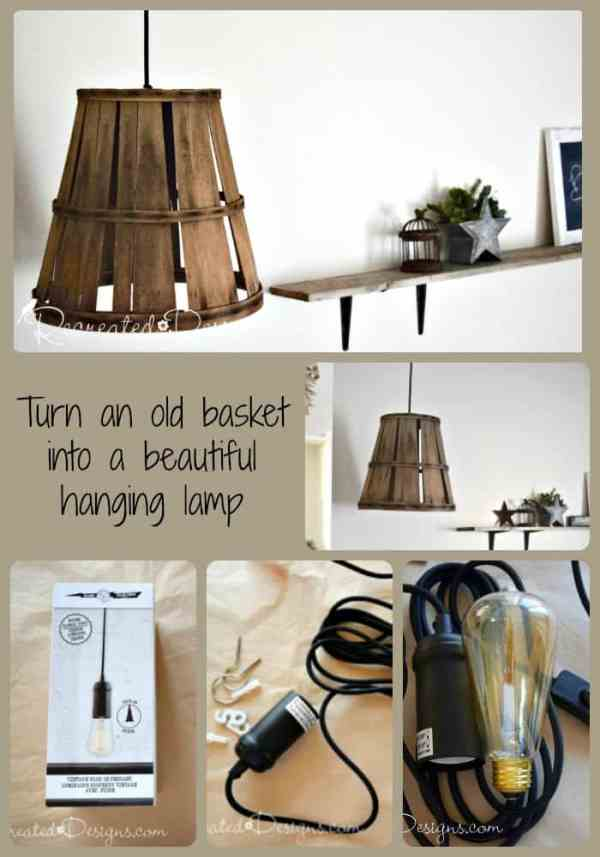 turn an old picking basket into a hanging lamp collage