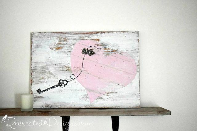 reclaimed wood Valentine art