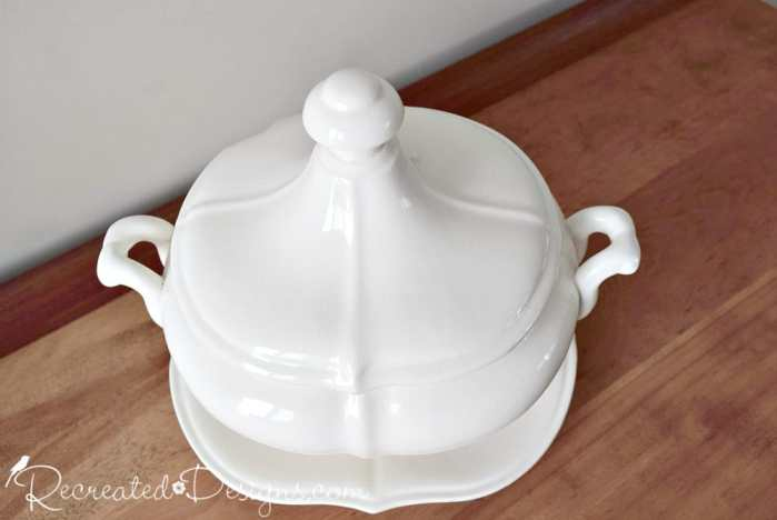 beautiful, white ironstone soup tureen from Japan