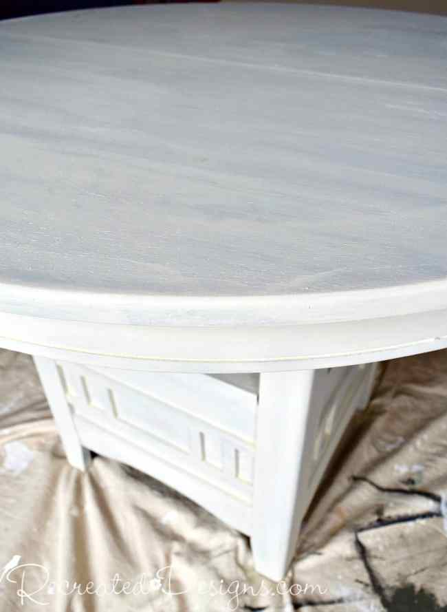 Painted wood table before distressing