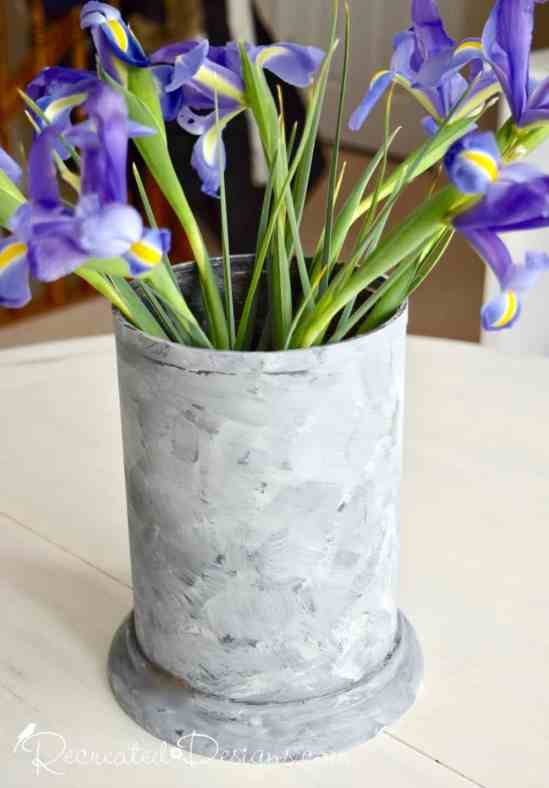 a thrift store vase painted with Fusion Mineral Paint to make it look like galvanized metal