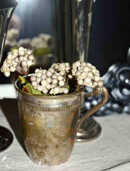 beautiful vintage silver cup with flowers