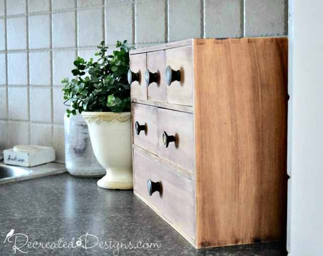 ikea storage tranformed with General Finishes Gel Stain in Nutmeg