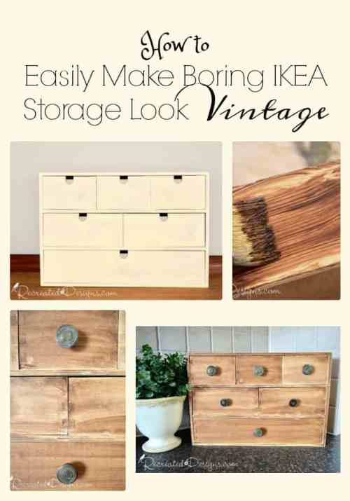 How to easily make boring IKEA storage look vintage