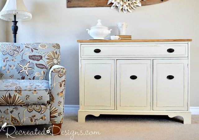 old dirty, buffet recreated with Fusion Mineral Paint in Plaster