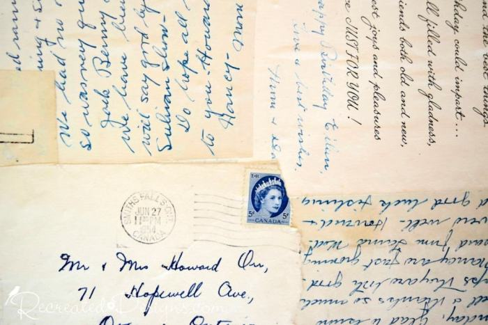 beautiful old letters on yellowed paper with a blue Canadian stamp