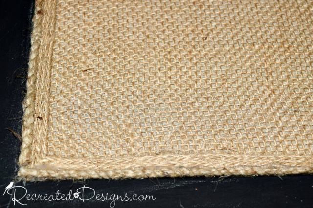 burlap and jute trim added to a salvaged cork board