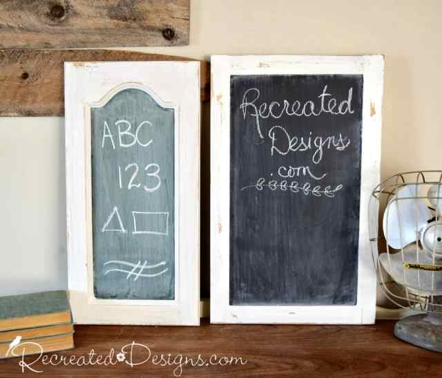 vintage looking chalkboard and black chalkboard