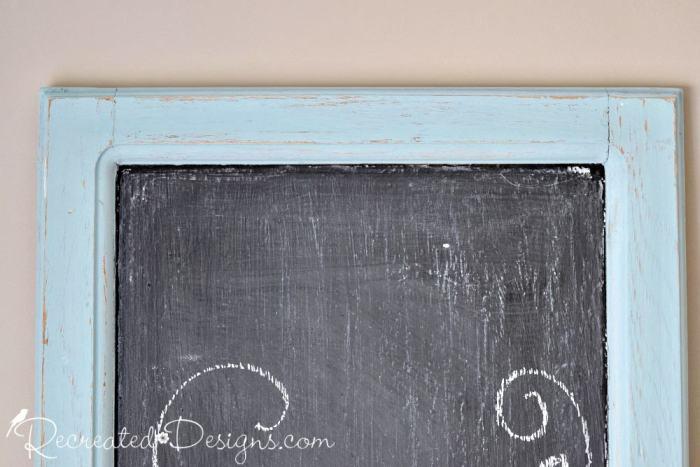 chippy milk paint on a chalkboard