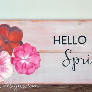 hello spring milk painted sign class with decoupaged flowers