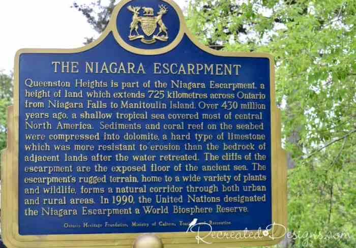 The Niagara Escarpment sign and info