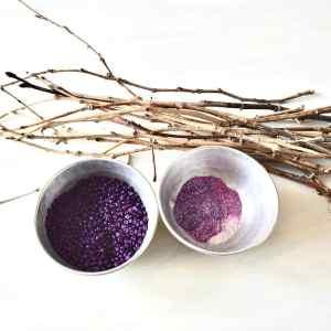 twigs, purple glitter and purple beads