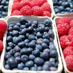 Blueberries and Strawberries in baskets