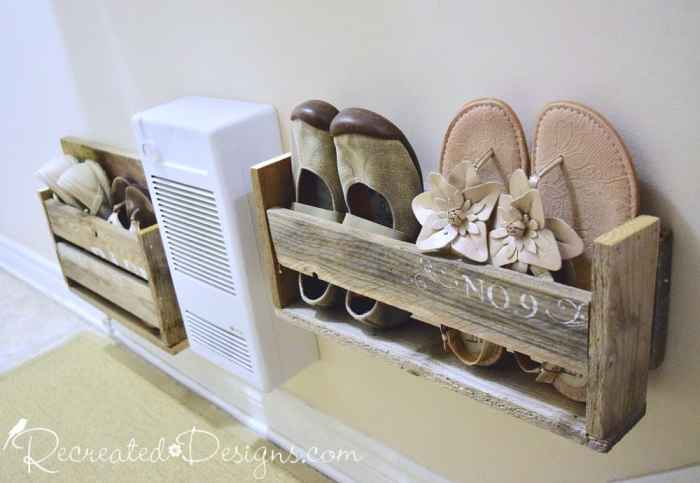 maximizing the space in a small entryway with pallet wood shoe boxes