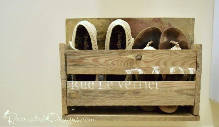 wooden shoe rack from reclaimed pallet wood