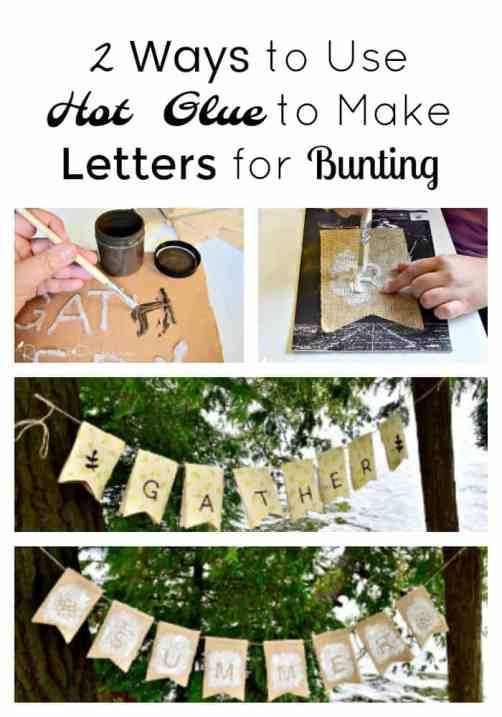 make letters using hot glue for bunting
