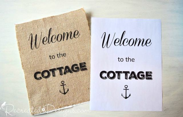 Welcome to the cottage sign printed on paper and burlap