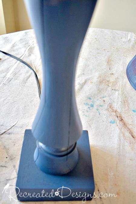 lamp base painted with Fusion Mineral Paint in Midnight Sky