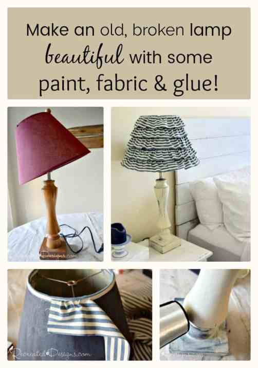Turn an old broken lamp into a beautiful new one with some paint, glue and fabric