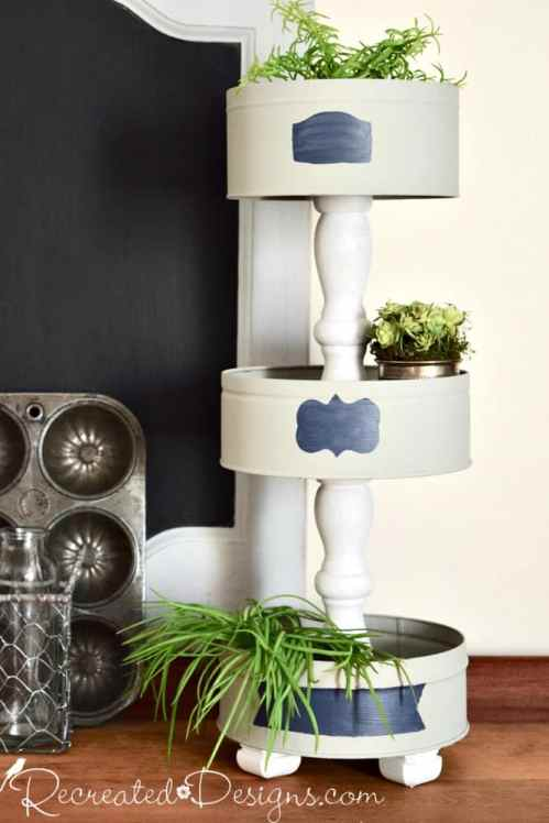 make a beautiful tiered stand out of old cookie tins