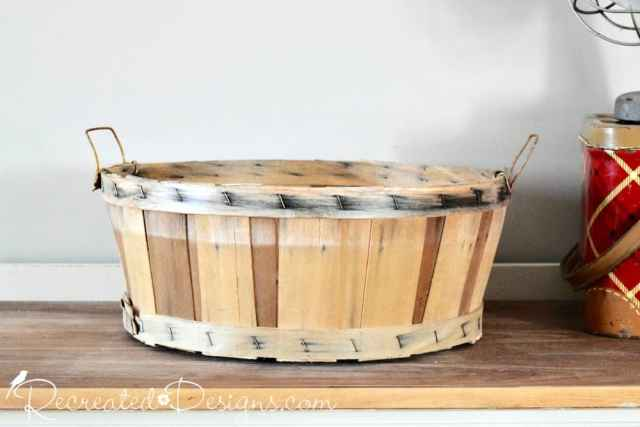 vintage picking basket before being recreated
