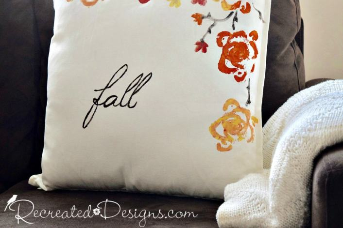adding the word Fall to a pillow