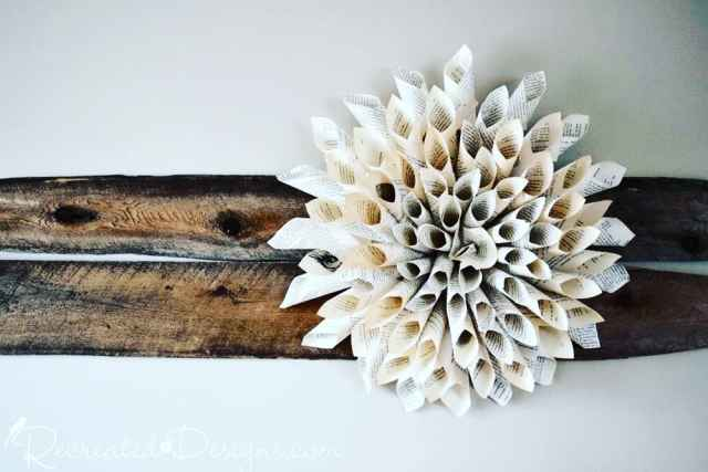 reclaimed wood with book page flower