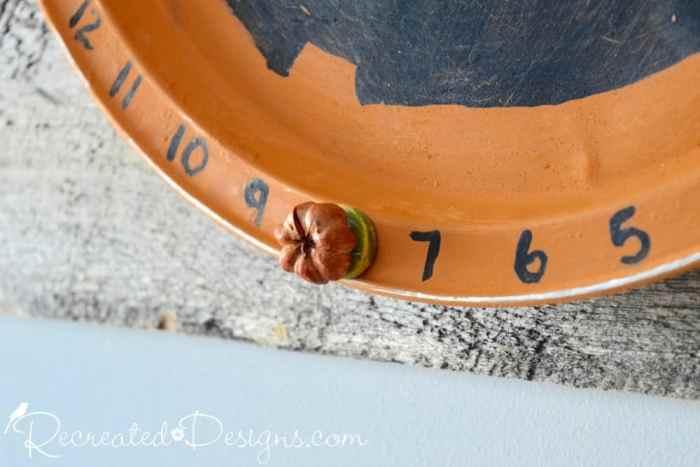 dried flower magnet on pumpkin Halloween countdown