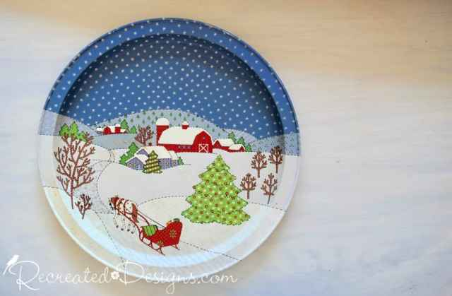 old Christmas tray before being turned into Halloween countdown