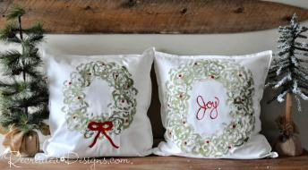 Christmas pillows made using celery and Miss Mustard Seed Milk Paint