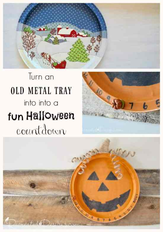 turn an old tray into a fun Halloween Countdown