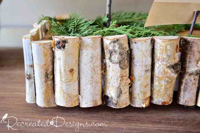 Birch branches cut in half