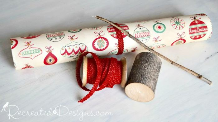 Christmas paper twig and ribbon