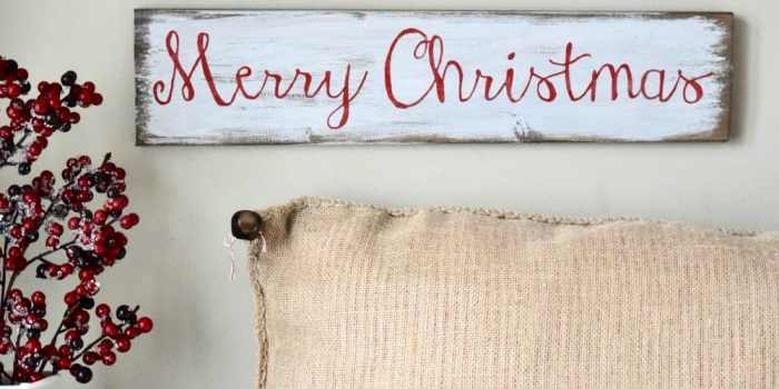 A DIY Red and White Scandinavian Christmas Sign